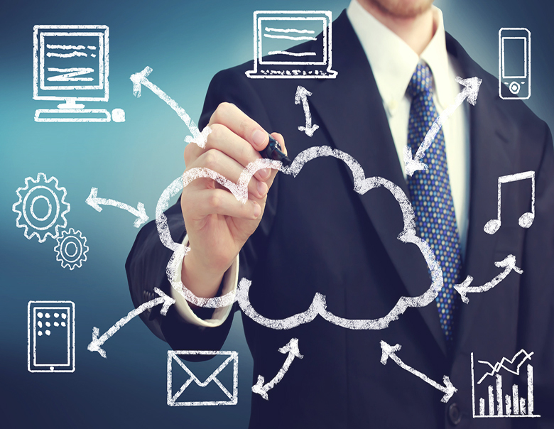 Businessman with cloud computing concept